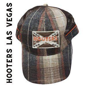 HOOTERS LAS VEGAS Brown Plaid Trucker Cap Hat NWOT